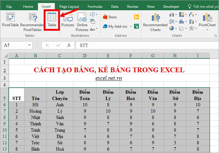 Hướng dẫn bạn 3 cách tạo bảng trong Excel nhanh nhất